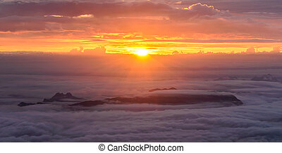 Panoramic view of morning mist with mountain at sunrise in Phu Kradueng national park ,Loei Thailand.