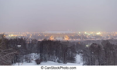 Panoramic view of Moscow City, Russia, from Sparrow Hills day to night winter timelapse