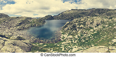 Panoramic view of mountain lake.