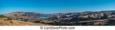 Panoramic View of Mountain Terrain with Lake in the Valley