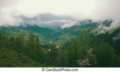 Panoramic view of Mountainous Hills, Clouds over Mountains....