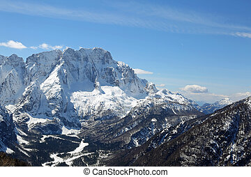 panoramic view of mountains from Lussari Mount in Nothern...
