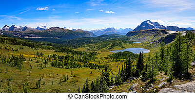 Panoramic view of mountains in Banff national park, Alberta, Canada