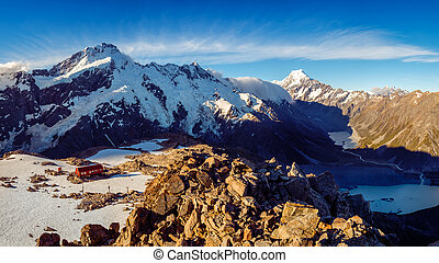 Panoramic view of Mt Cook mountain range with Mueller hut, Southern Alps, New Zealand