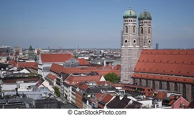 Munich top view from St. Peter`s church tower. Marienplatz from above, shopping and cultural center