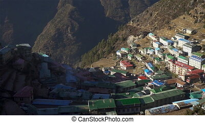 Panoramic view of Namche Bazaar, Everest trek, Himalaya,...