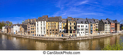 Panoramic view of Namur, from the river Meuse. Belgium - ...