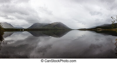 Yukon, Canada - Panoramic View of Nares Lake with Mountains ...
