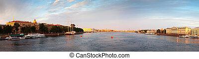 Panoramic view of Neva river in summer