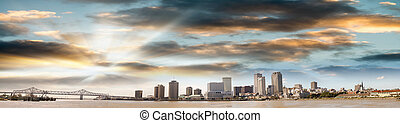 Panoramic view of New Orleans skyline at dusk