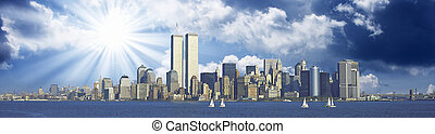 Panoramic view of New York and Twin Towers, U.S.A.