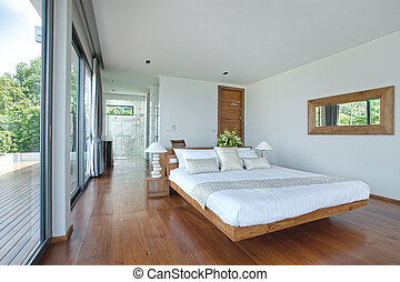 bedroom - panoramic view of nice cozy bedroom with tropical ...