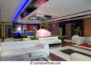 Panoramic view of nice modern stylish hotel lobby interior