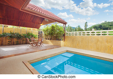 patio - panoramic view of nice summer house patio with...