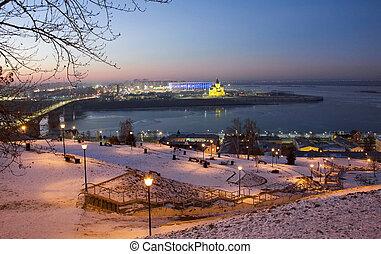 Panoramic view of night Nizhny Novgorod at sunset in winter