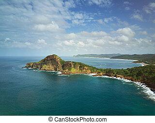 Panoramic view of ocean coastline