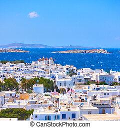 Mykonos town in Greece