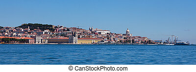 Panoramic view of old Lisbon in Portugal