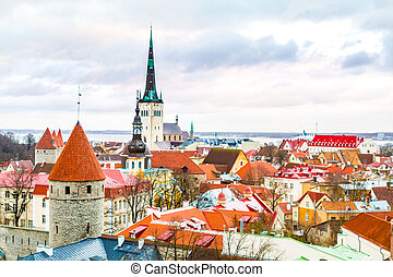Panoramic view of old part of Tallin in winter. Estonia