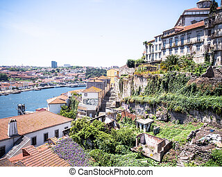 Panoramic view of Old Porto city, Portugal
