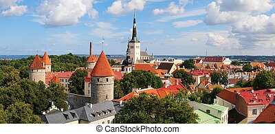 Panoramic view of Old Tallinn Lower town. Estonia -...