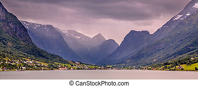 Panoramic View of Olden village in Briksdalsbreen Glacial valley
