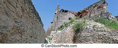 Panoramic view of one interior part at the citadel ruins of Deva