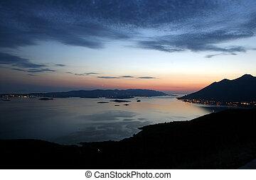 Panoramic view of Orebic bay and Korcula island, Dalmatia, Croatia