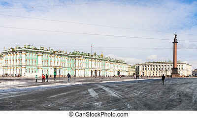 panoramic view of Palace Square in St Petersburg