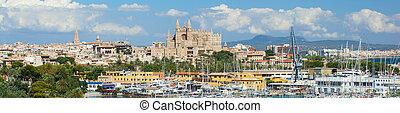 Panoramic view of Palma de Mallorca in Spain