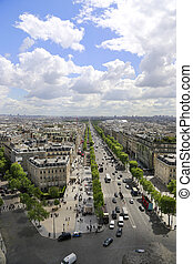 Panoramic view of Paris from the roof of the Triumphal Arch