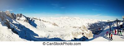 panoramic view of Passo del Tonale ski resort in Italy Alps