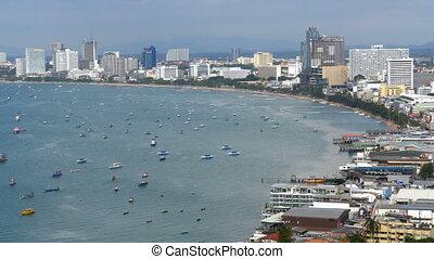 Panoramic view of Pattaya City Beach and Gulf of Siam in...