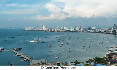Panoramic view of Pattaya City Beach at Pratumnak Viewpoint. Timelapse. Thailand, Pattaya, Asia