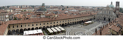 Panoramic view of Piazza Ducale, Vigevano, Italy
