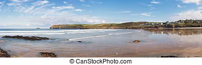 Panoramic View of Polzeath Beach in Cornwall, England