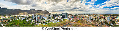 Panoramic view of Port Louis, Mauritius - Panoramic view of ...