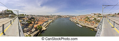 Panoramic view of Porto Ribeira cityscape from top of Luis I...