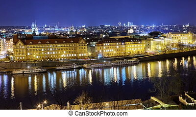 Panoramic view of Prague cityscape at night