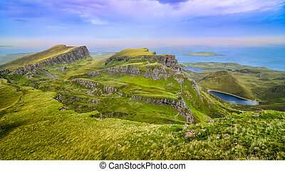 Panoramic view of Quiraing coastline in Scottish highlands