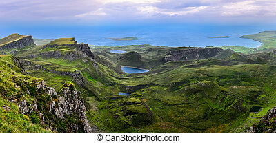 Panoramic view of Quiraing coastline in Scottish highlands,...