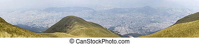 Panoramic view of Quito from the mountain