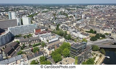 Panoramic view of Rennes city with modern apartment buildings , administrative center of Brittany region, France. High quality 4k footage