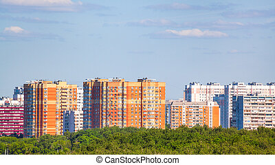 panoramic view of residential district in summer