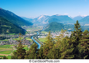Panoramic view of Rietz, Telfs, Pfaffenhofen and the river Inn in Tyrol, Austria