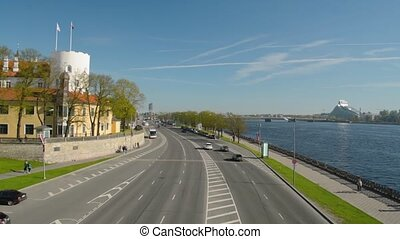 Panoramic view of Riga Old Town and Daugava river from the bridge