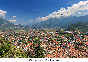 Panoramic view of Riva del Garda towards Arco, Italy