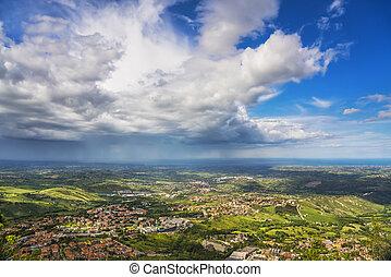 Panoramic view of Romagna coast or Riviera Romagnola from San Marino. Italy