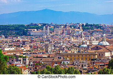 Rome - Panoramic view of Rome from Janiculum hill, Italy