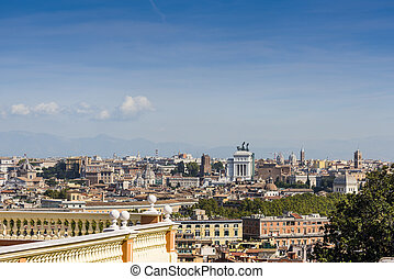 Panoramic view of Rome on a sunny day